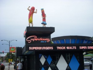 Presumably, the male-and-female representations of hot dogs here reflect the two original owners, Maurie and Flaurie Berman.