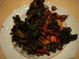 Wild Salmon with Garlicky Chanterelles and Kale Chips