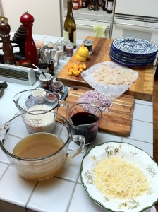 Preparation, red wine risotto.