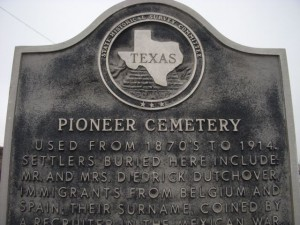 Dutch's great-great grandfather's name, on the Pioneer Cemetary sign